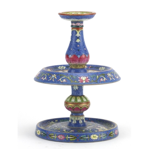 386 - Good Chinese blue ground porcelain candlestick, finely hand painted in the famille rose palette with...