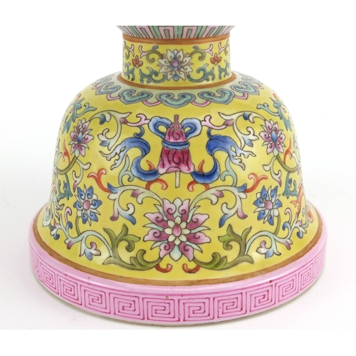 396 - Good Chinese porcelain two section Gu vase, hand painted in the famille rose palette with daoist emb...