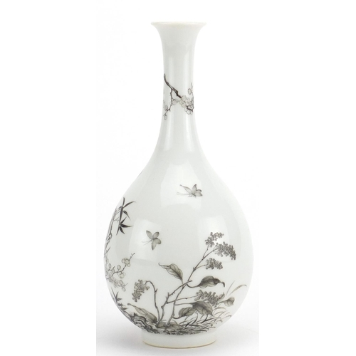 423 - Chinese porcelain grisaille bottle vase, hand painted with butterflies amongst blossoming trees at m...