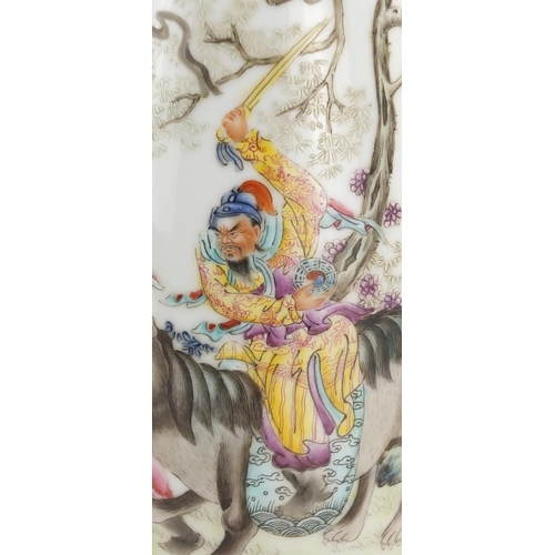 398 - Chinese porcelain footed vase, finely hand painted in the famille rose palette with a warrior on hor...
