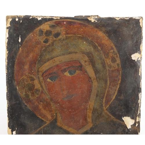 1186 - Portrait of Madonna, antique oil on wood panel, unframed, 35.5cm x 29.5cm...