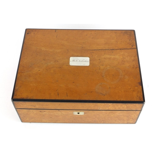 45 - Victorian birds eye maple sewing box, the hinged lid with mother of pearl cartouche opening to revea...