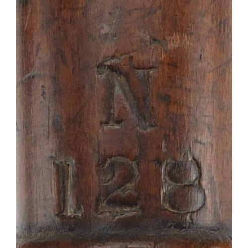 31 - Three Victorian turned wood truncheons, one with hand  painted crest another impressed CP and indist...