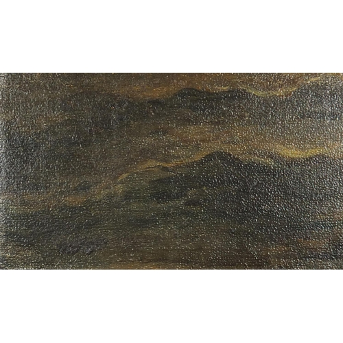 1164 - Manner of Joseph Mallard Turner - Figures on a jetty, 19th century English school oil on canvas, unf...