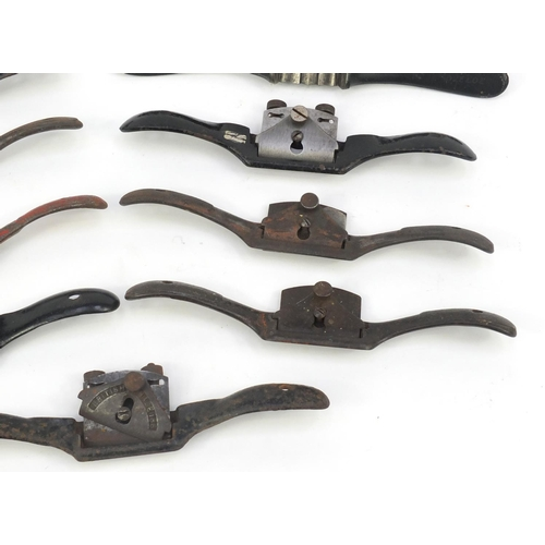 199 - Eleven vintage wood working Spoke shave planes including No.51, and No.53...