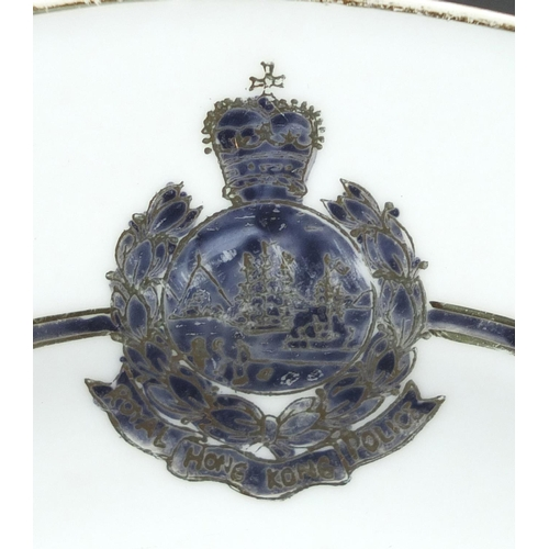 30 - Three Royal Hong Kong police plates, each inscribed decorated in Hong Kong to the reverse, 25.5cm in...