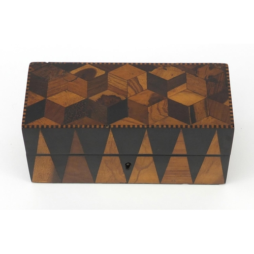 39 - Victorian Tunbrige Ware tumbling block design inkwell box, the hinged lid opening to reveal a pair o...