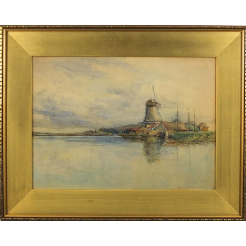 1181 - John Hodgson Campbell - Millpoint 1895, watercolour, inscribed verso, mounted and framed, 54cm x 39c...