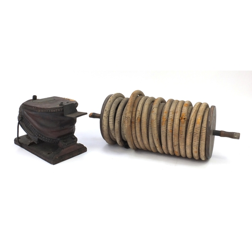 28 - 19th century oak and brown leather divers bellows with hose, the bellows with applied brass instruct...