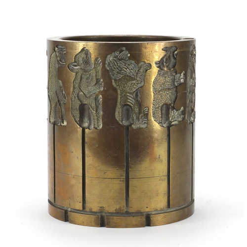 20 - Early 20th century bronze animal chocolate mould, 23.5cm high x 20cm in diameter...