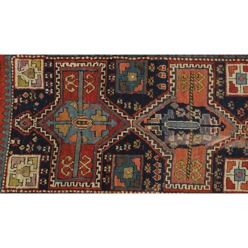 2044 - 19th century rectangular Caucasian carpet runner, 263cm x 105cm...