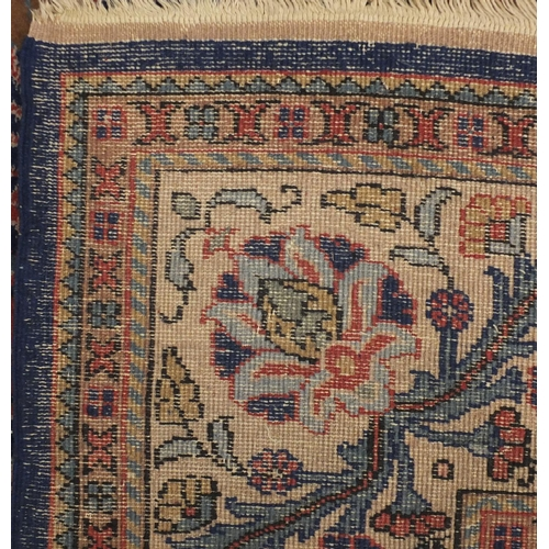 2010 - Rectangular Turkish Sparta carpet, the central field having an all over stylised foliate design onto...
