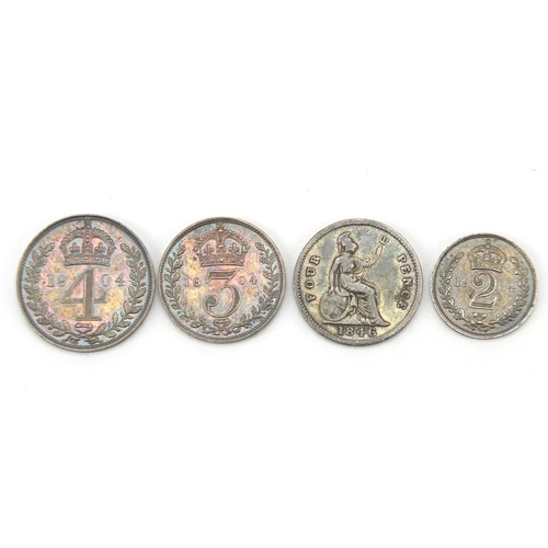 2805 - Edward VII 1904 part Maundy coin set, housed in a tooled leather case and one other...