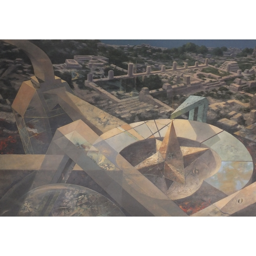 1184 - Pancho Quilici 1987 - Para-Point De Chute, oil on canvas, housed in a pine framed with pencil and wa...