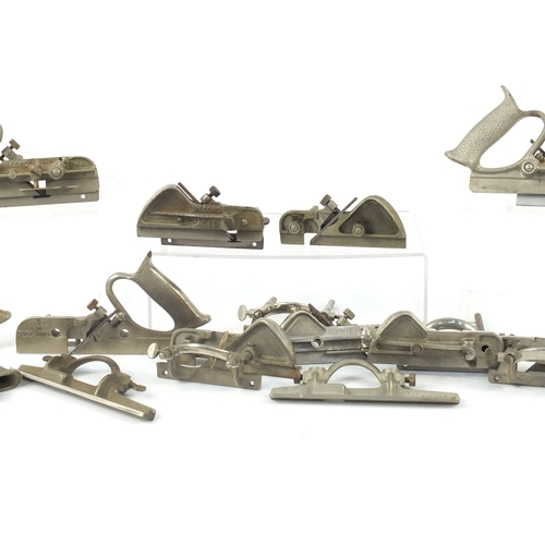 176 - Fifteen vintage wood working Plough planes comprising eight Record No.044, three Record No.043 and f...