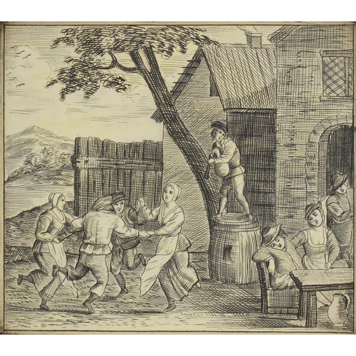 54 - 19th century rectangular pen work panel depicting jolly figures, with rosewood mount, housed in a gi...