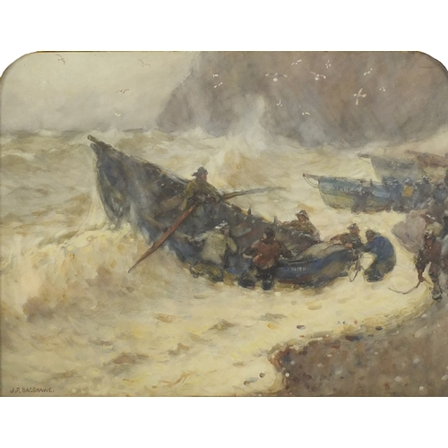 1207 - Joseph Richard Bagshawe - Saving the Cobbles, early 20th century watercolour, inscribed verso, frame...