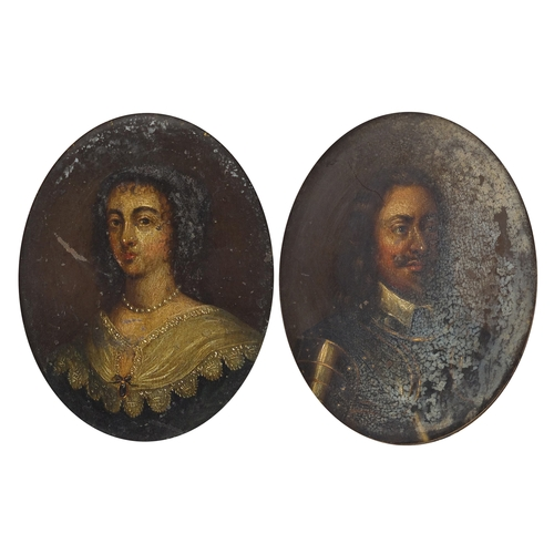 1166 - Charles I and Henrietta Maria of France, pair of 17th century oil on copper panel head and shoulder ...