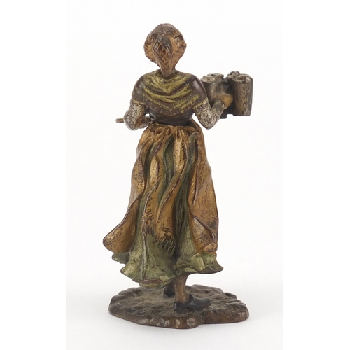 1 - Franz Bergmann cold painted bronze of a female serving coffee, impressed marks and numbered 7294 to ...