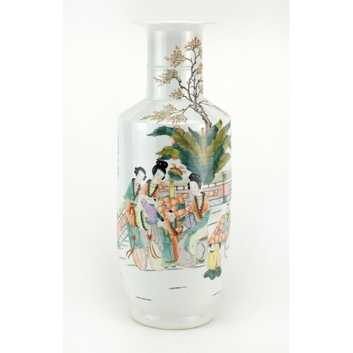 388 - Chinese porcelain Rouleau vase, finely hand painted in the famille rose palette with figures, childr...