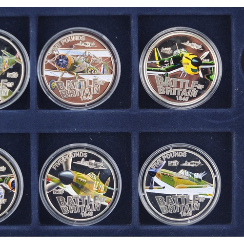2796 - Seven silver proof Battle of Britain five pound coins and a two pound example...