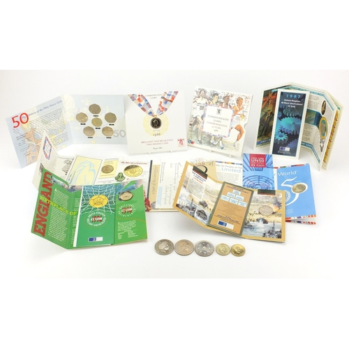 2802 - Mostly British uncirculated coins including fifty pence commemorative collection, five pounds and tw...