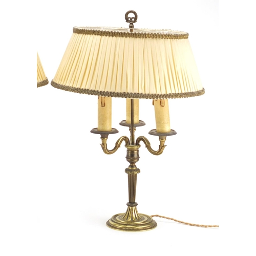 2040 - Pair of ornate gilt brass Bouillotte table lamps with silk lined pleated shades, each 44cm high...