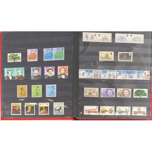 2827 - Mostly British mint unused stamps arranged in two stock books, various genres and denominations...