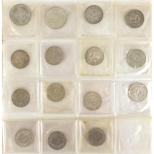 2810 - 19th century and later Swiss coinage arranged in an album, some silver including five franc, two fra...