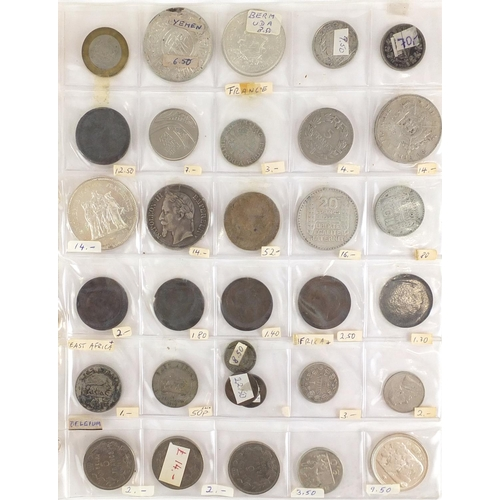 2808 - 19th century and later World coinage arranged in an album, some silver including America and France...