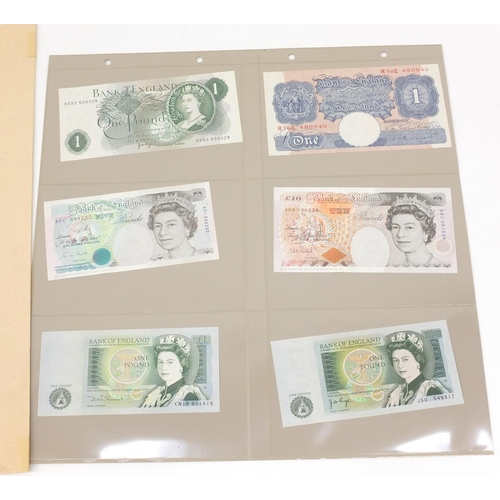 2826 - Three sheets of stamps and a group of banknotes including Bank of England ten pounds, five pounds an...