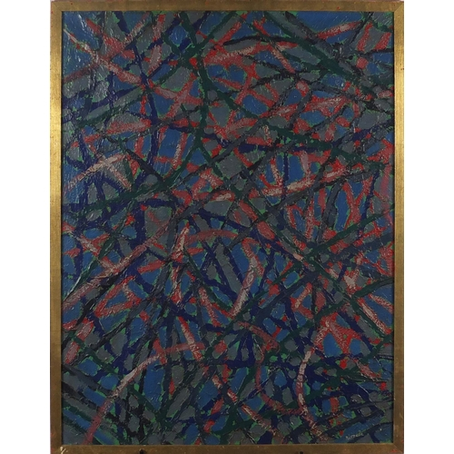 2052 - Abstract composition, oil on canvas, bearing an indistinct signature possibly Rupella, framed, 89cm ...