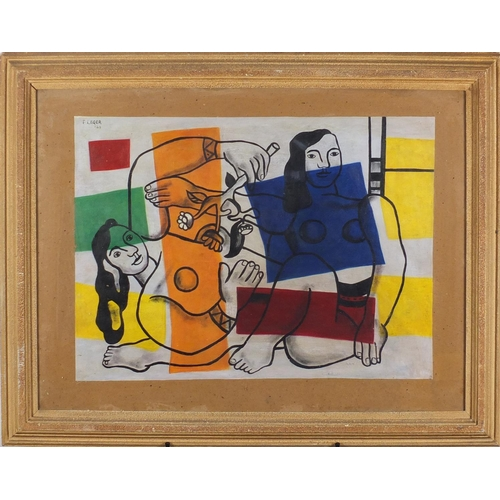 2054 - Abstract composition, two surreal nude figures, oil on canvas laid on board, bearing a signature F. ...