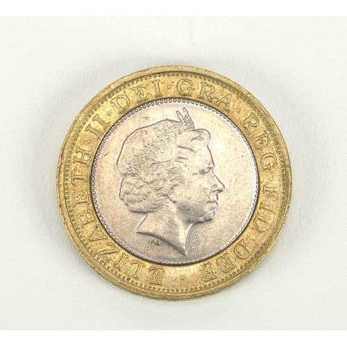 2804 - Elizabeth II 2001 two pound coin with error...