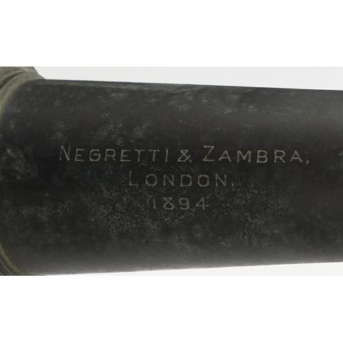 2006 - Victorian British Military brass telescope on tripod stand by Negretti & Zambra dated 1894...