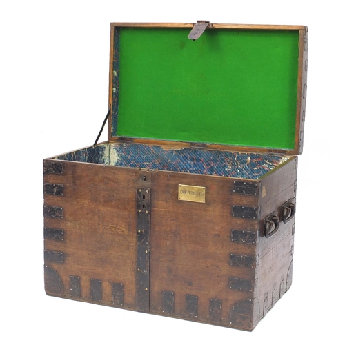 2016 - Early 19th century oak metal bound Silver Chest, with carrying handles and brass plaque, engraved Jo...