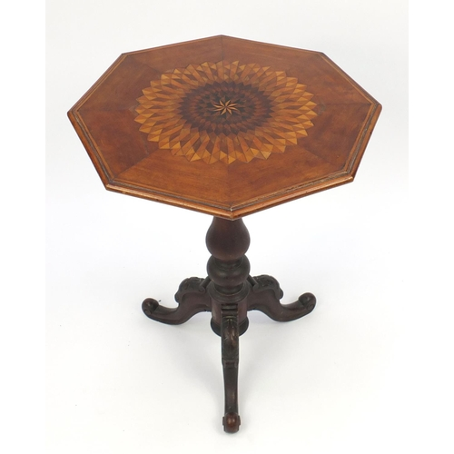 2019 - Parquetry inlaid octagonal snap top occasional table with tripod base, 73cm high x 57cm wide...