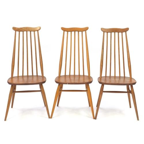 2041 - Set of six Ercol light elm Goldsmith chairs, each 99cm high...