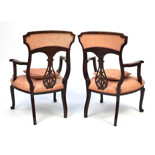 2046 - Pair of Edwardian Art Nouveau mahogany salon chairs floral motif and salmon upholstery, 96cm high...