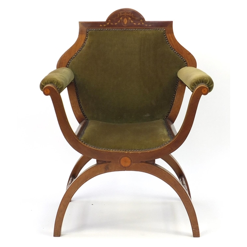 2049 - Edwardian inlaid mahogany X framed throne chair with green upholstery, 88cm high...