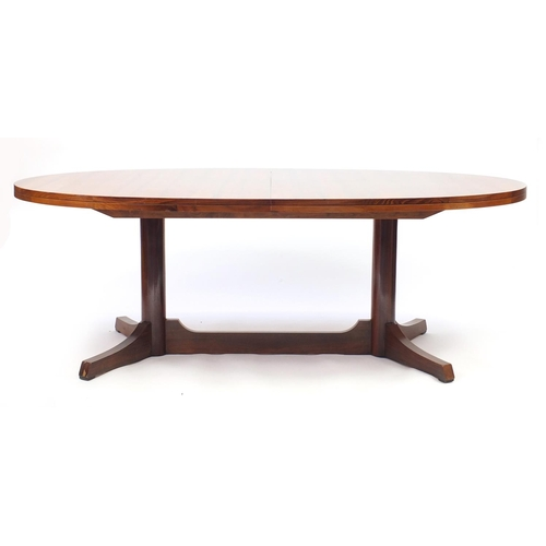 2056 - Vintage Rosewood extending dining table with extra leaf, reputably retailed by Waring & Gillow, 71cm...