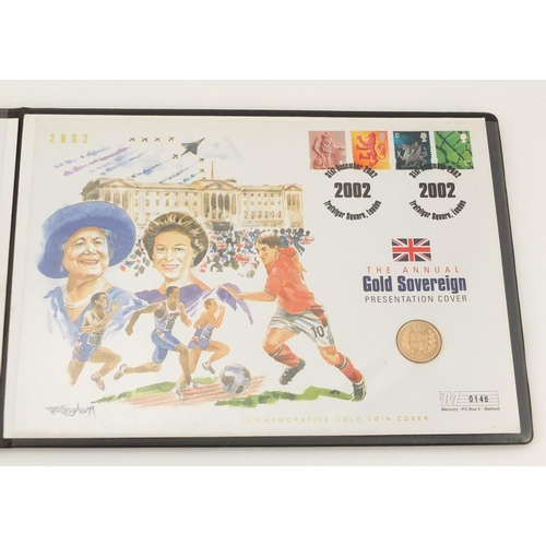 2792 - 2002 annual gold sovereign presentation cover, number 146...