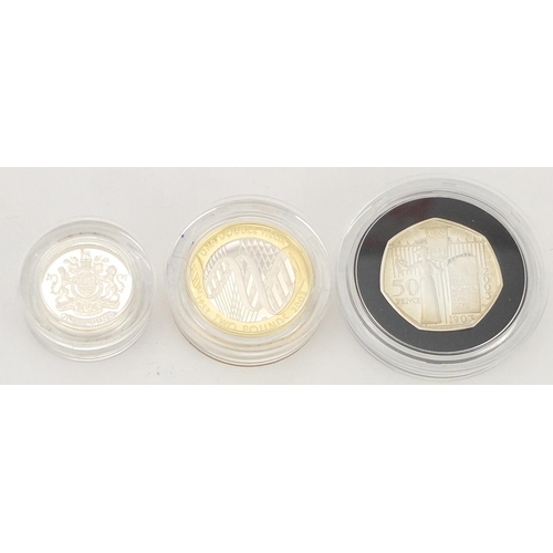 2797 - 2003 silver proof piedfort three coin collection with case and certificates...