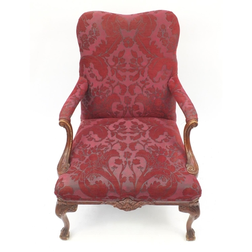 2039 - Mahogany framed open armchair with scroll arms, ball and claw feet and red floral upholstery, 93cm h...
