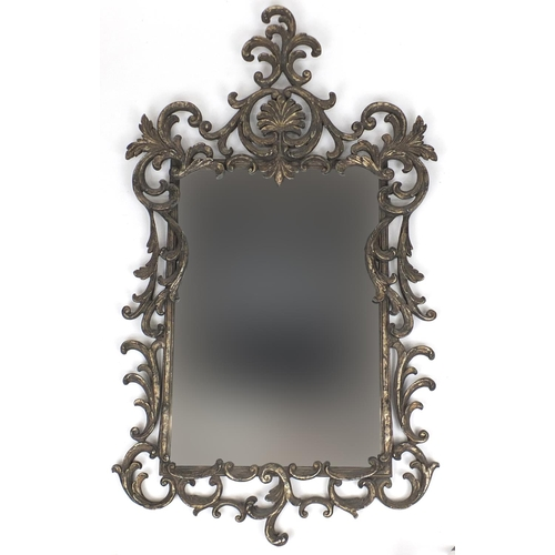 2029 - Large Rococo style silvered wall hanging mirror, 145cm x 86cm...