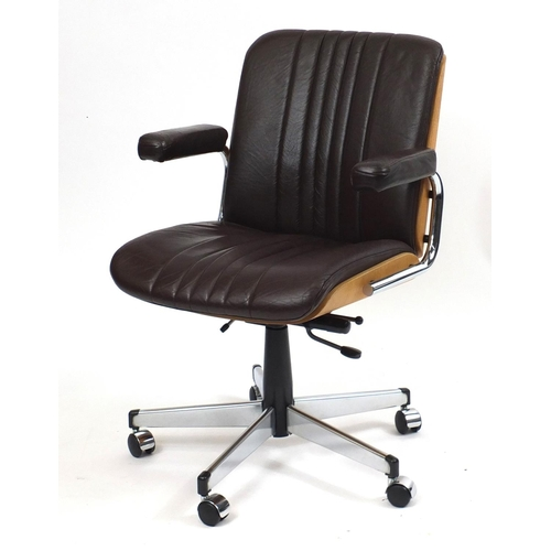 2034 - 1970's Giroflex office chair by Martin Stoll with bent plywood shell and brown leather seat and pads...