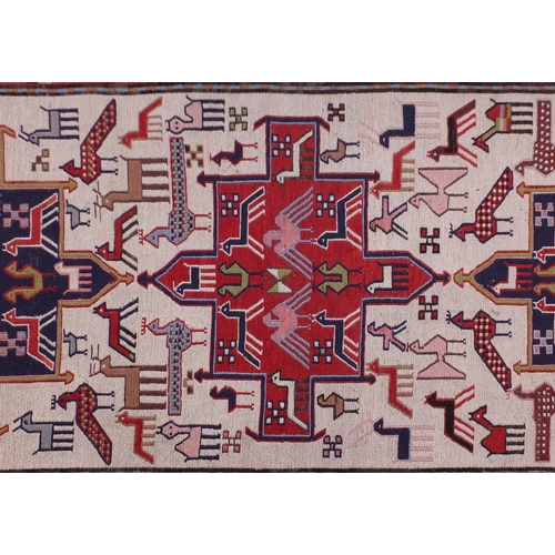 2033 - Turkish Kilim rug, decorated with birds, horses and camels, 200cm x 108cm...