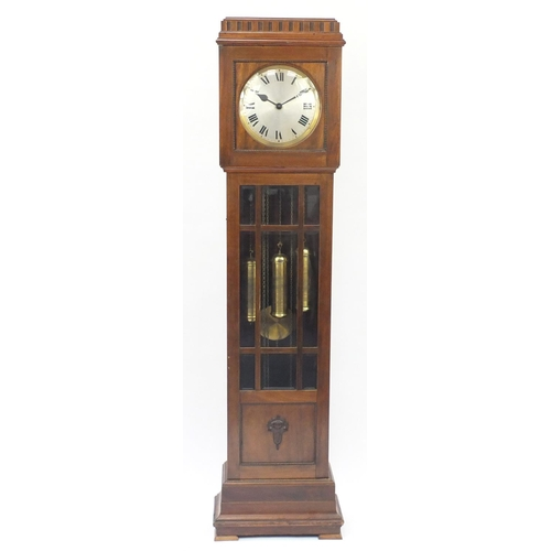 2047 - Mahogany long case clock with silvered dial and bevelled glazed door, 184cm high...