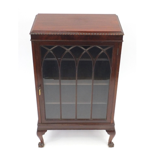 38A - Mahogany bookcase raised on ball and claw feet, 109cm H x 62cm W x 33cm D...