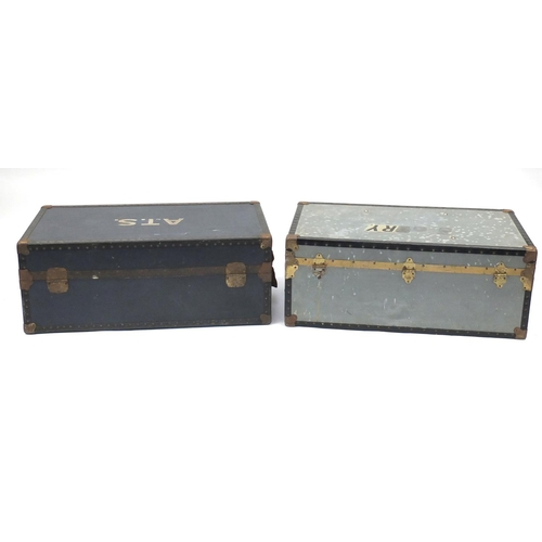 45A - Two vintage metal bound travelling trunks, each approximately 91cm in length...